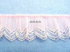 "Vintage Lace Trim 1 yard Crystal Pleated Nylon 2"" Wide Gathered Pink Picot Lot 3"