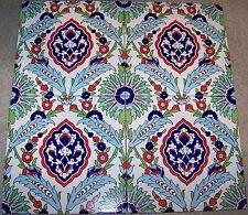 "12 Ottoman Iznik Carnation & Daisy Pattern 8""x8"" Turkish Ceramic Tile Set"