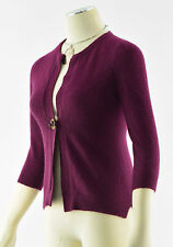 BCBG MAX AZRIA Purple Single Btn 100% Cashmere 3/4 Sleeve Cardigan Sweater Sz XS