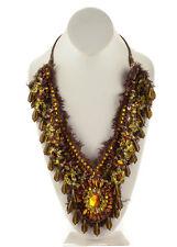 DESIGNER Brown Bronze Silk Resin Beaded Bib Collar Bold Statement Necklace