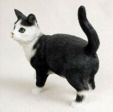 SHORTHAIRED BLACK WHITE TABBY CAT Figurine Statue Hand Painted Resin Standing