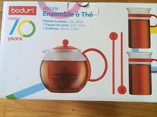 BODUM 70TH ANNIVERSARY ASSAM TEA PRESS SET - RED-NEW IN BOX-LIMITED EDITION