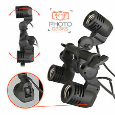 Continuous Lighting 3 Bulb Umbrella Holder - Photography Lamp Studio Unit Brolly