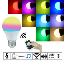 E27 LED RGB Bluetooth Speaker IOS Android APP Control Light Lamp Bulb Smart #P