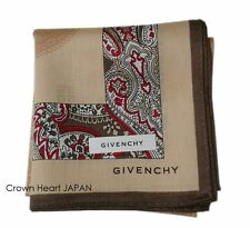 GIVENCHY Cotton Handkerchief / Mini Scarf Paisley Camel Beige Japan-Licensed