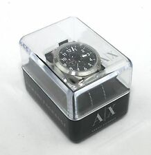 Armani Exchange Romulous Chronograph Black Dial Black Leather Mens Watch AX1754