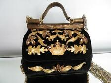 Auth Dolce & Gabbana Black Velvet Mini Miss Sicily Bag