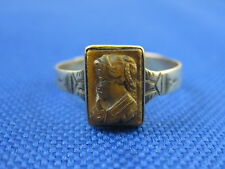 VINTAGE 10K YELLOW GOLD TIGERS EYE CAMEO RING SIZE 9.5