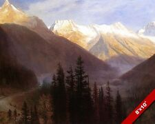 GLACIER STATION MONTANA RAILROAD TRAIN OIL PAINTING ART PRINT ON REAL CANVAS