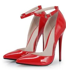 17cm Sexy sky high heels patent red strap pumps gorgeous fetish high heels 43