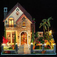 Großes Liebesschloss Holz Puppenhaus Miniatur DIY Haus Musik Geschenk Für Kinder