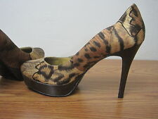 GUESS Women's Size 8.5M Pumps Platform Leopard Print High Heel Shoes $70