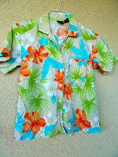 Erika Hawaiian Shirt Blouse Tropical  Brite Floral Print  Cotton Blend     PM