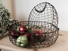 French Vintage Style Oval Wire Basket Fruit Vegetable Toiletries Storage 2 Sizes