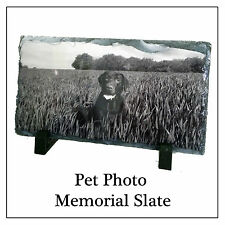 Pet Memorial Slate & Stand, Personalised Photo Plaque Dog Cat etc Have ANY IMAGE