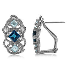 London Blue Topaz 925 Sterling Silver Vintage Style Filigree Omega Clip Earrings