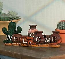 "Southwest Inspired Tabletop Welcome Sign 11 1/2""Wx5""H Country Cactus Gecko NEW"