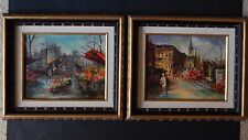"P.G. Tiele (2) Framed & Signed 8"" x 10"" Oil Paintings Street Scenes"