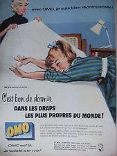 PUBLICITÉ 1957 OMO C'EST BON DE DORMIR DANS LES DRAPS PROPRE - ADVERTISING