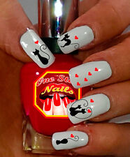 Cats Nail Art Decals with Black Cats and Hearts. Set of 28 Decals. OSN-BC001-28