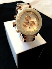 Nixon Unisex 42-20 A0371046 Chronograph ROSE Gold/WHITE GRANITE Watch Ret.$550