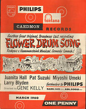 PHILIPS RECORD CATALOGUE SUPPLEMENT 1960 03 MARCH flower drum song/li'l abner