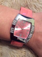 Faux Leather Pink Strap & Face Ladies Watch Crystal Case Birthday Xmas Cute Gift