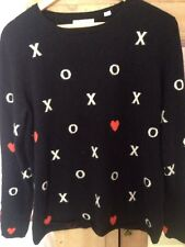 chinti and parker 100% Cashmere Navy And White O and X Design Jumper Large UK 14