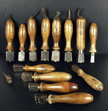 Lot de 14 fers Outils de bourrelier cordonnier Saddlery leather tool shoemaker