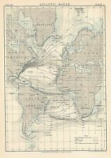 Original 1878 ATLANTIC OCEAN Water Temperatures Isotherms Currents Gulf Stream