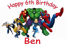 Personalised A4 Super Hero, Spiderman, Hulk, Ironman Icing Sheet Cake Topper