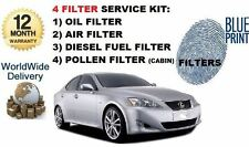 FOR LEXUS IS220D 2005-2010 OIL AIR FUEL POLLEN FILTER SERVICE KIT (4X FILTERS)