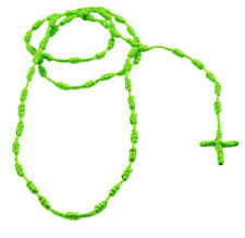 "MM Men's Cross Rosary Rope Cord Necklace 28"" Neon Lime Green,Orange,Pink & Multi"