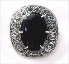 LARGE ONYX STONE PIN Brooch Ornate Vintage Design Marcasite 925 STERLING SILVER