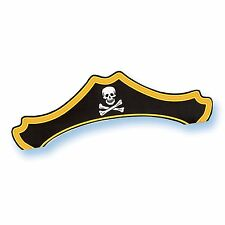 8 Buried Treasure Pirate Skull Black Birthday Party Card Paper Party Hats
