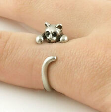 Kitty Cat Animal Ring Cute Adjustable Silver Finger Wrap Crystal Eyes AR-22