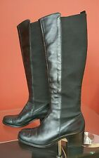 ANN KLEIN WOMEN ELASTIC LEATHER TALL RIDING BOOTS BACK STRETCH WIDE CALF Sz 9.5
