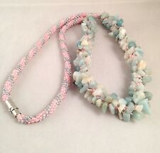 Handmade Amazonite Gemstone Beads Pink & Grey Seed Beads Kumihimo Braid Necklace