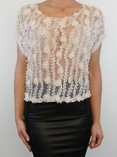 Cameo Rose @ New Look ivory cream corsage lace trim boxy crop blouse size S 10