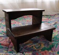 Handcrafted Heavy Duty Step Stool, Wooden Bedside Bedroom Kitchen Kids, Walnut