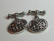 OVAL CELTIC KNOTS STERLING SILVER  CUFF LINKS  - NEW