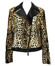 NEW $3685 ETRO LAMB LEOPARD PRINT LEATHER MOTO  JACKET 44 - 8