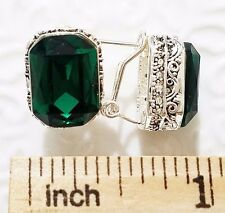 Vintage Carved Antique Green Radiant Cut Emerald Earrings White Gold Plated 134