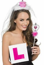Ladies Girls Hen Party Bride to Be Party Set Tiara & Veil L Plate Badge Wand Kit