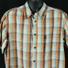 Columbia Mens XL Shirt S/S Casual Gents Sport Clothing Plaid Design Extra Large