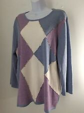 Alfred Dunner Woman's  NWT Pull On Top Long Sleeve Blue  Harlequin Diamonds 1X