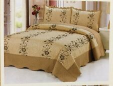 3 Pc Gold Quilt Floral Embroidery Bedspread Size Queen Coverlet Bedding Set