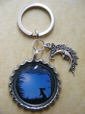 Moon Gazing Hare Bottlecap Keyring Pagan Wiccan easter Birthday present Gift