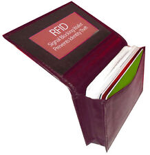 Burgundy RFID Security Leather Expandable Credit Card ID Business Holder Wallet