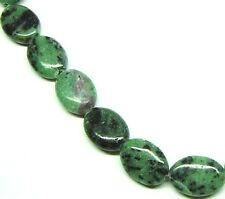 "16"" NATURAL Ruby in Zoisite Flat Oval 23 Beads 13x18mm K4208"
